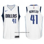 Camiseta Dallas Mavericks Dirk Nowitzki #41 2017-18 Blanco