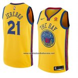 Camiseta Golden State Warriors Jonas Jerebko #21 Ciudad 2018-19 Amarillo