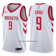 Camiseta Houston Rockets Zhou Qi #9 Swingman Association 2017-18 Blanco