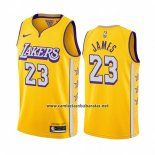 Camiseta Los Angeles Lakers Lebron James #23 Ciudad 2019-20 Amarillo