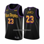 Camiseta Los Angeles Lakers Lebron James #23 Ciudad 2019-20 Negro