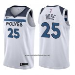 Camiseta Minnesota Timberwolves Derrick Rose #25 Association 2017-18 Blanco