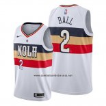 Camiseta New Orleans Pelicans Lonzo Ball #2 Earned Blanco