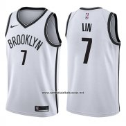 Camiseta Brooklyn Nets Jeremy Lin #7 Association 2017-18 Blanco