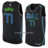 Camiseta Dallas Mavericks Luka Doncic #77 Ciudad 2017-18 Negro