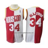 Camiseta Houston Rockets Hakeem Olajuwon #34 Retro Rojo Blanco