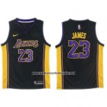 Camiseta Los Angeles Lakers Lebron James #23 2017-18 Negro