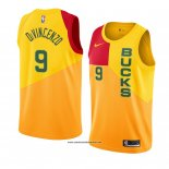 Camiseta Milwaukee Bucks Donte Divincenzo #9 Ciudad 2018-19 Amarillo