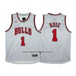 Camiseta Moda Estatica Chicago Bulls Derrick Rose #1 Gris