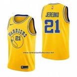 Camiseta Golden State Warriors Jonas Jerebko #21 Hardwood Classic 2018-19 Amarillo