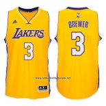Camiseta Los Angeles Lakers Corey Brewer #3 Home 2017-18 Oro