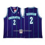 Camiseta Charlotte Hornets Larry Johnson #2 Retro Violeta