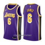 Camiseta Los Angeles Lakers LeBron James #6 Statement 2019 Violeta