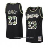 Camiseta Los Angeles Lakers Lebron James #23 Camuflaje Negro