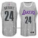 Camiseta Luces De La Ciudad Los Angeles Lakers Kobe Bryant #24 Gris