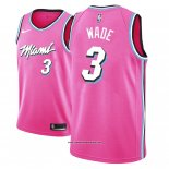 Camiseta Miami Heat Dwyane Wade #3 Earned 2018 Rosa