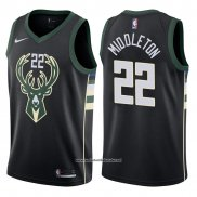 Camiseta Milwaukee Bucks Khris Middleton #22 Statement Harley 2017-18 Negro