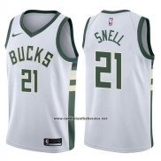 Camiseta Milwaukee Bucks Tony Snell #21 Swingman Association 2017-18 Blanco