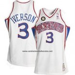 Camiseta Philadelphia 76ers Allen Iverson #3 Retro 10th Blanco