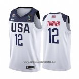 Camiseta USA Myles Turner #12 2019 FIBA Basketball World Cup Blanco