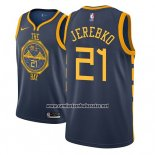 Camiseta Golden State Warriors Jonas Jerebko #21 Ciudad 2018-19 Azul