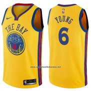 Camiseta Golden State Warriors Nick Young #6 Chinese Heritage Ciudad 2017-18 Amarillo