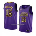 Camiseta Los Angeles Lakers Demarcus Cousins #15 Ciudad 2019-20 Violeta