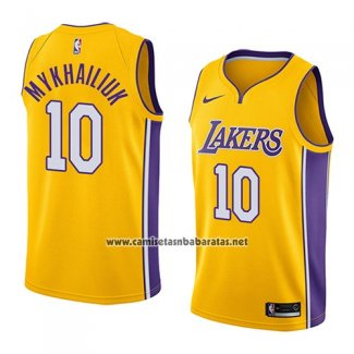 Camiseta Los Angeles Lakers Sviatoslav Mykhailiuk #10 Icon 2018 2019 Amarillo