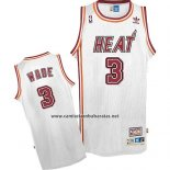 Camiseta Miami Heat Dwyane Wade #3 Retro Blanco