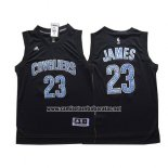 Camiseta Diamonds Editon Cleveland Cavaliers LeBron James #23 Negro