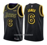 Camiseta Los Angeles Lakers LeBron James #6 Ciudad 2019 Negro