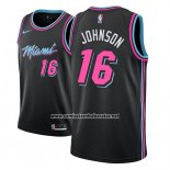 Camiseta Miami Heat James Johnson #16 Ciudad 2018-19 Negro