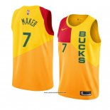 Camiseta Milwaukee Bucks Thon Maker #7 Ciudad 2018-19 Amarillo