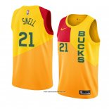 Camiseta Milwaukee Bucks Tony Snell #21 Ciudad 2018-19 Amarillo