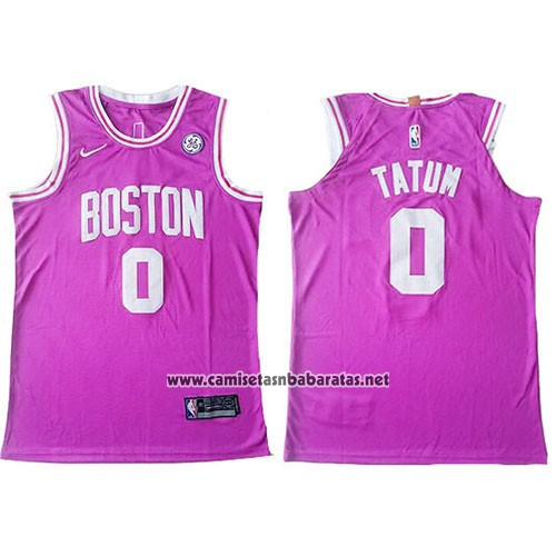 Camiseta Boston Celtics Jayson Tatum #0 Authentic Rosa
