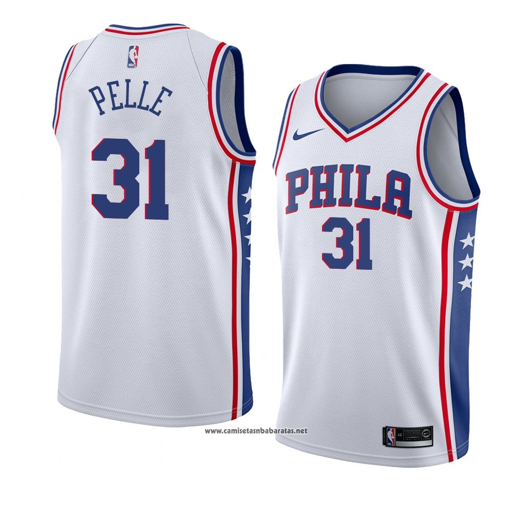 Camiseta Philadelphia 76ers Norvel Pelle #31 Association 2018 Blanco