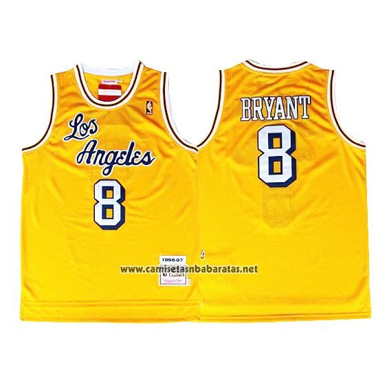 4a0d8094d59e2 Camiseta Los Angeles Lakers Kobe Bryant  8 Retro Amarillo