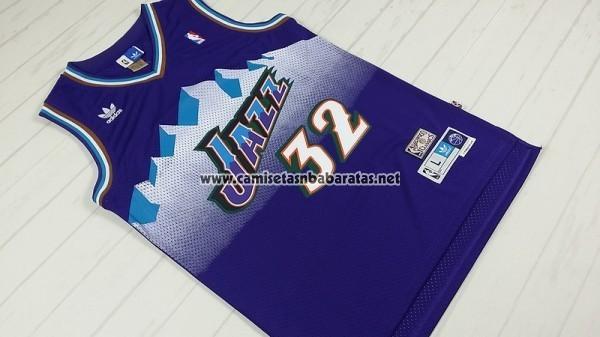 Camiseta Utah Jazz Karl Malone #32 Retro Violeta